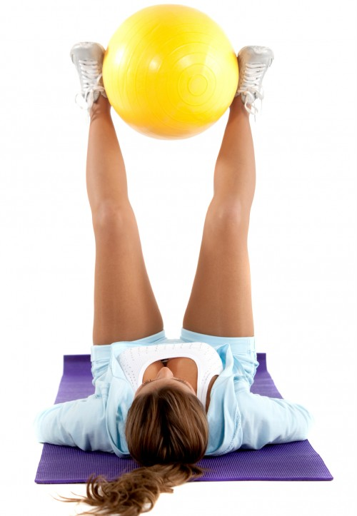 Lying Leg Raise with a ball